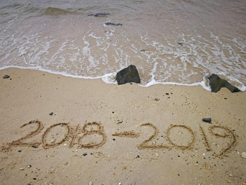 Happy new year concept_ 2018 to 2019 written in the sand on a beach