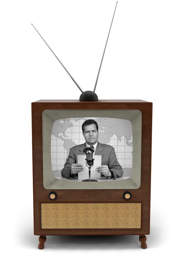 1950 s television with a newscaster reading a news bulletin
