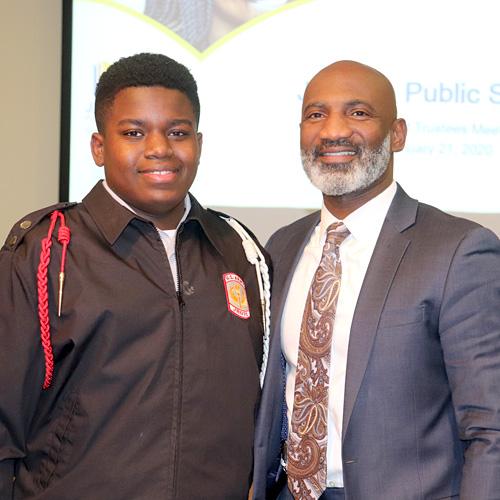 Caleb Rhodes and Dr. Errick Greene