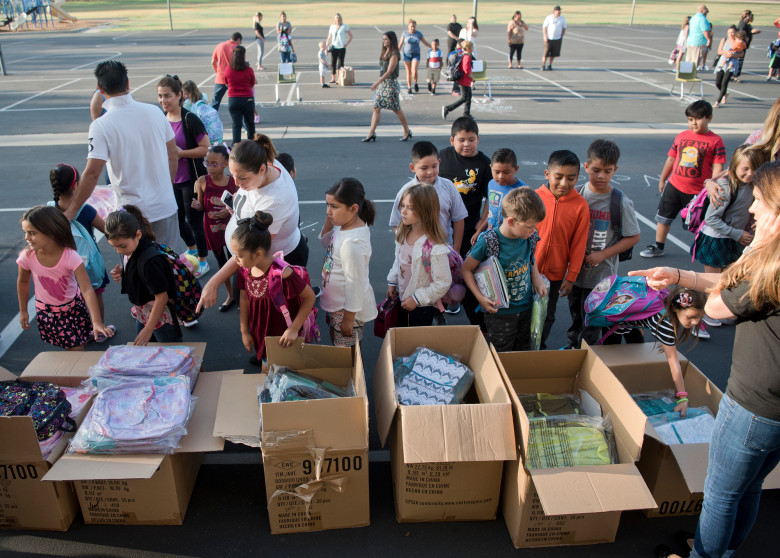 Students picked out donated backpacks from Costco