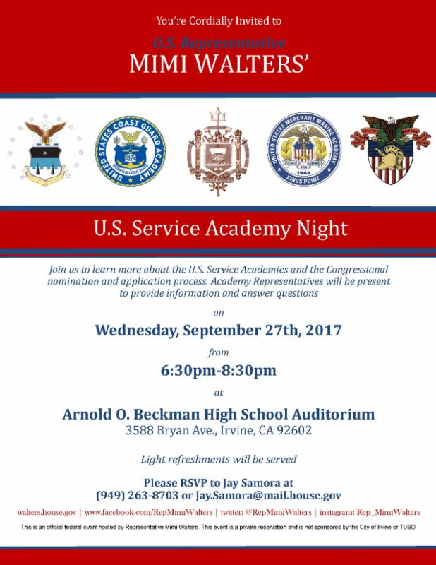 Picture of Service Academy Night flyer