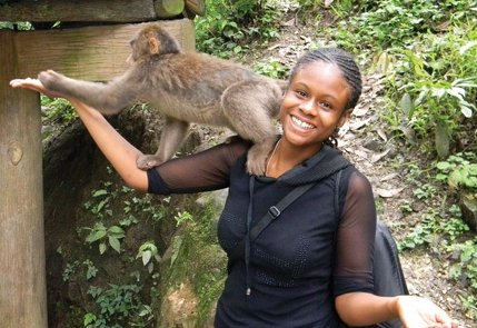 Student with monkey