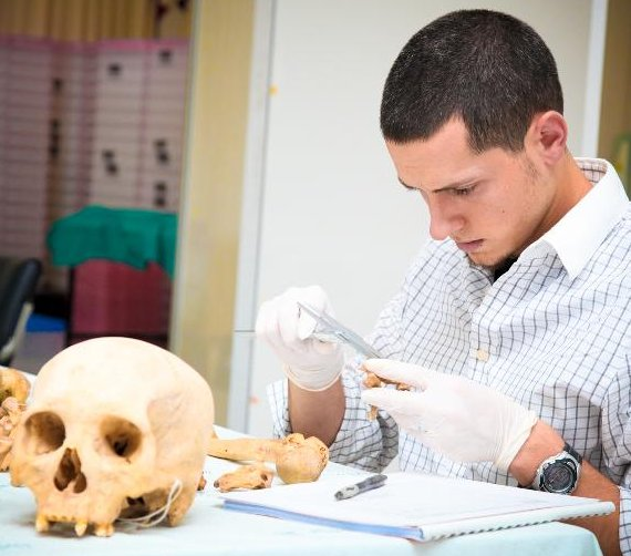 Student with skulls