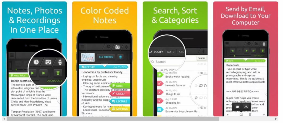 Screen shot of the 4 functions of SuperNote.