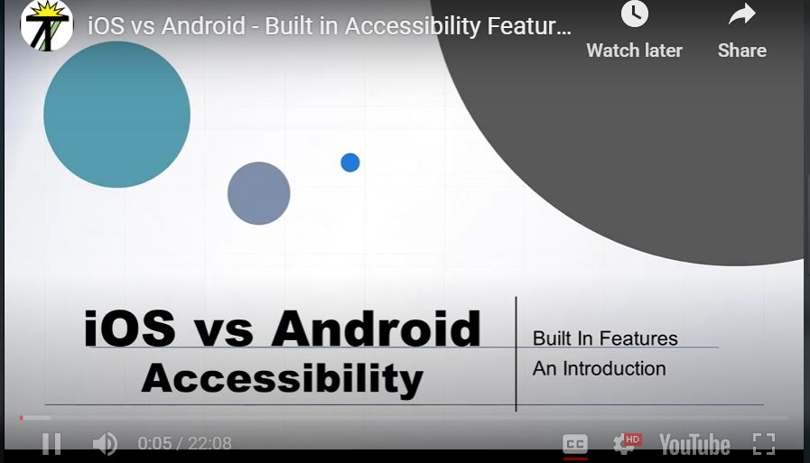 Beginning slice for the iOS versus Android Accessibility Presentation