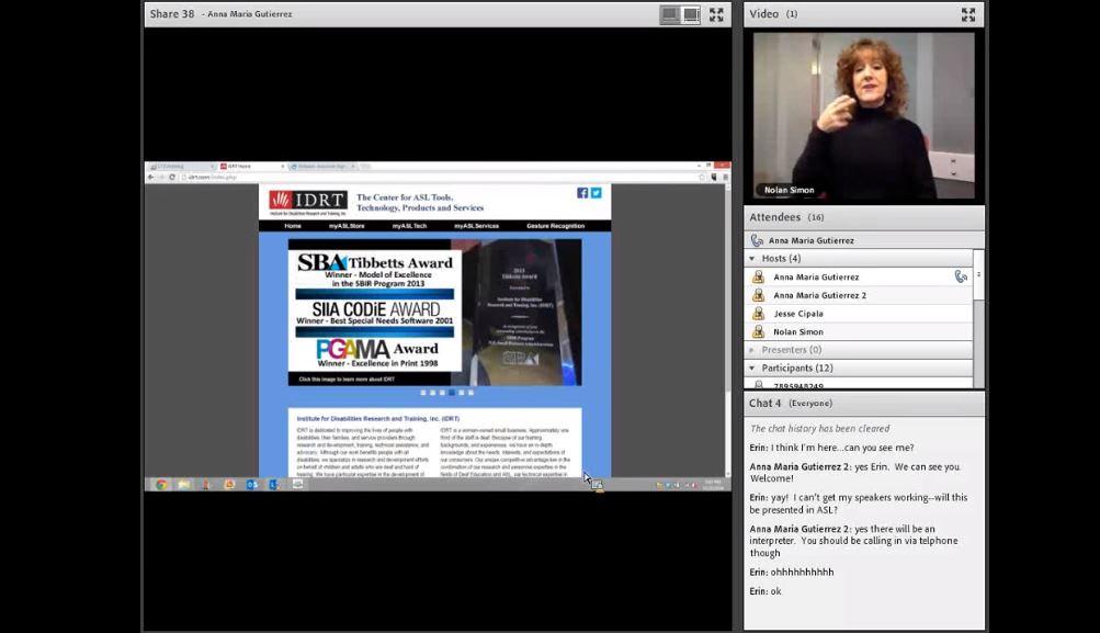 Screen shot of the IDRT ASL webinar.