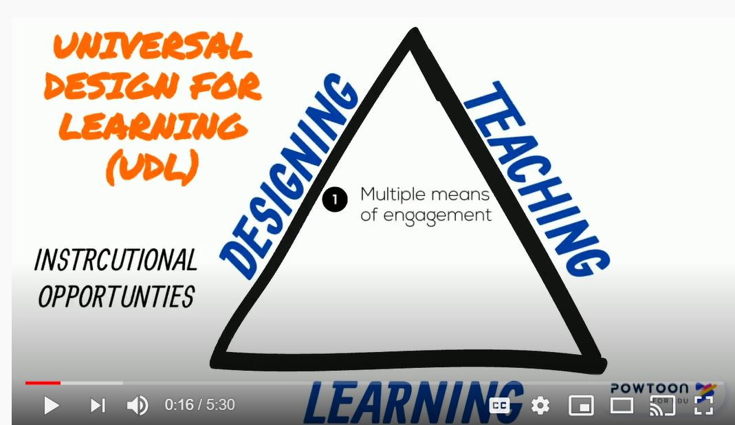 Universal Design for Learning framework of designing teaching and learning