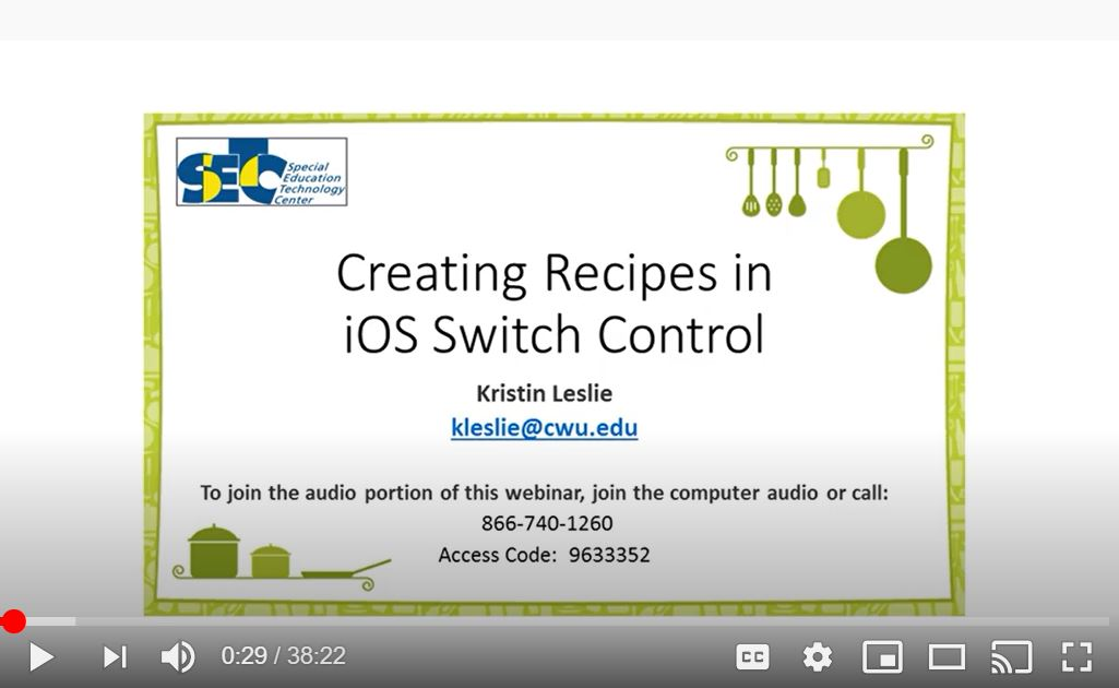 Switch recipe video for access to the ipad