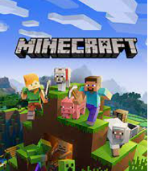 Minecraft characters with the minecraft logo