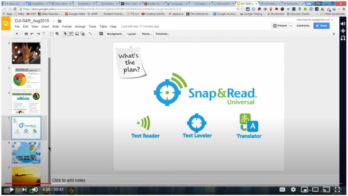 OPENING SLIDE OF SNAP AND READ TRAINING