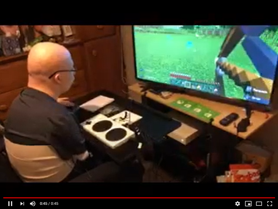 Video of Brenden using the adapative gaming equipment