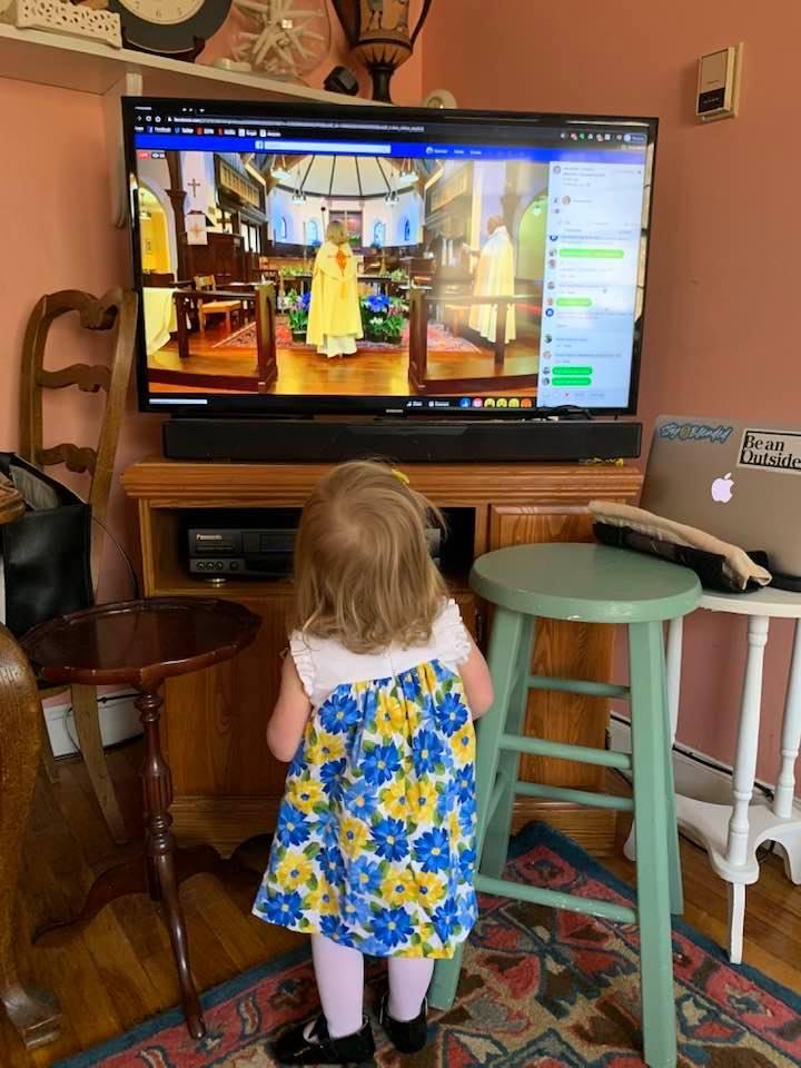 Annie Carson worshiping at home!