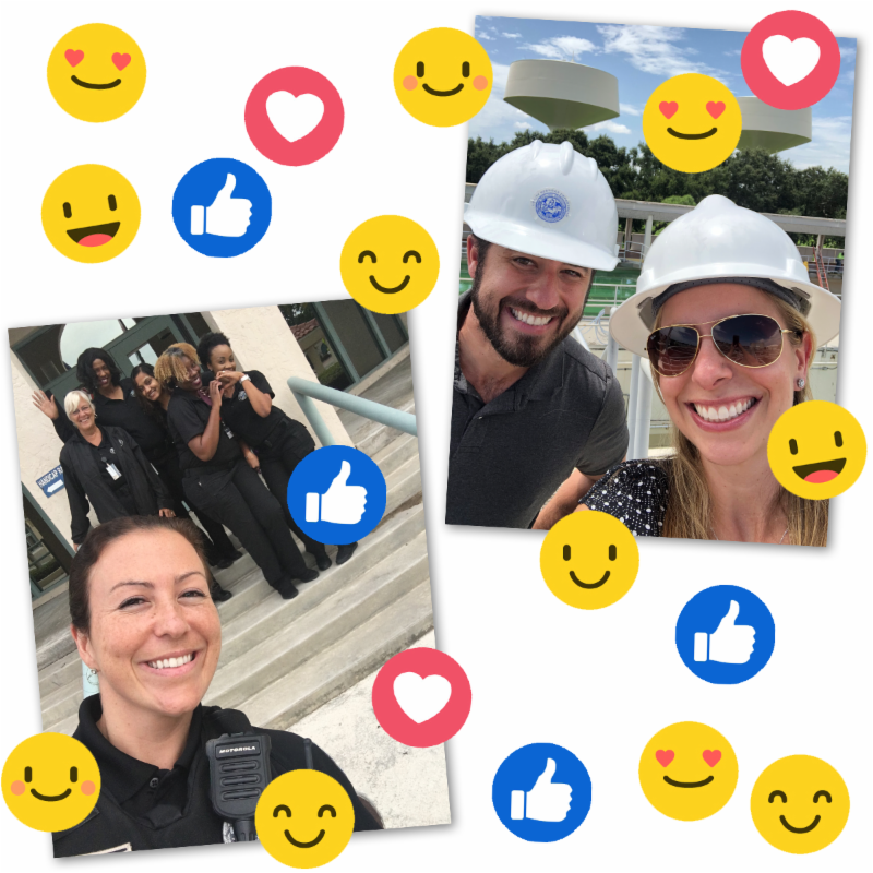 City Staff taking selfies with smiley face and emoji stickers.
