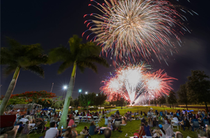 Boca Raton Fabulous Fourth crowd in field watching fireworks