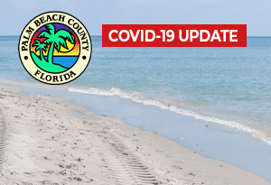 Picture of beach with Palm Beach County, Florida logo and COVID-19 Update