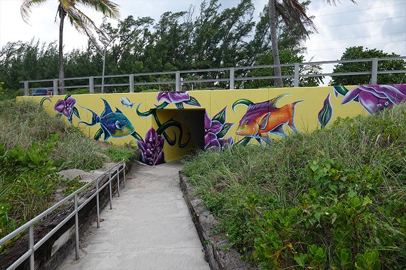 Spanish River beach tunnels art, city of Boca Raton art in public places