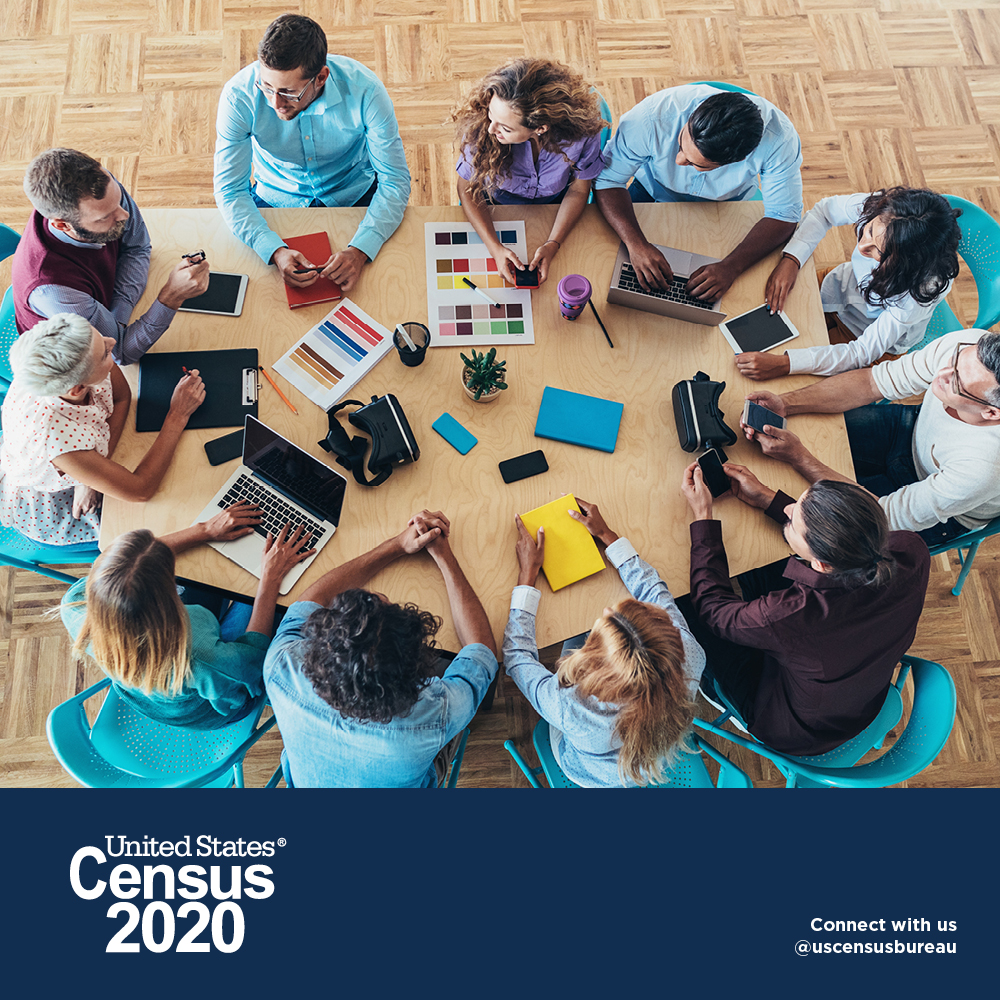 United States Census 2020. People working together around a table.