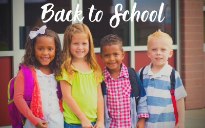 Kids posing with backpacks. Back to school