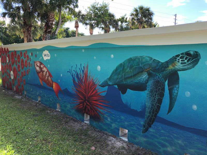 mural wall painting of sea turtle and ocean