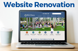 Website renovation. laptop with myboca.us homepage pulled up on the screen