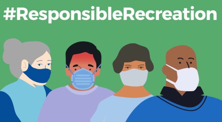 Graphics of people wearing masks. # Responsible Recreation