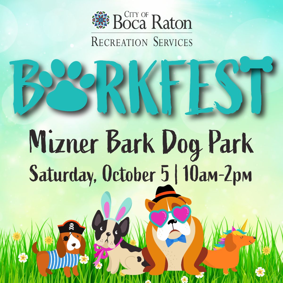 city of boca raton recreation services. barkfest. mizner bark dog park. saturday october 5 10am to 2pm