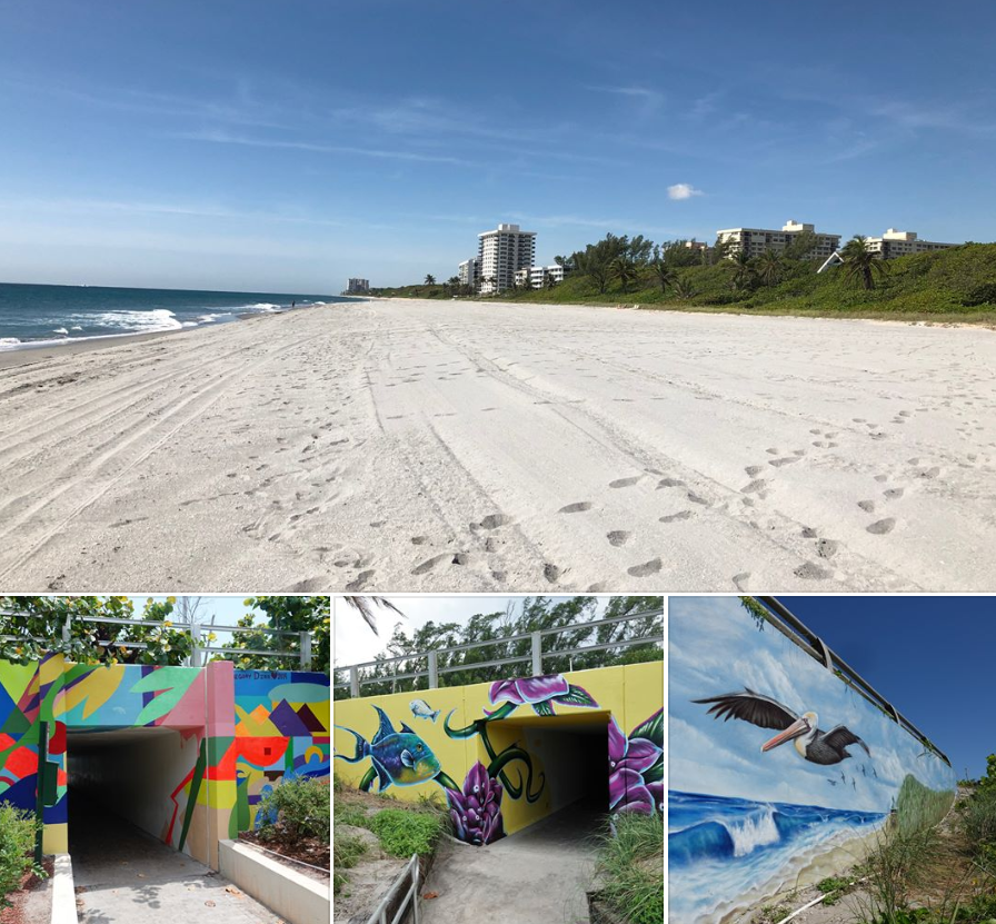 renourished Spanish River Beach and art murals at the beach access tunnels.