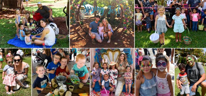 Collage of families having fun at Boca Raton Springfest