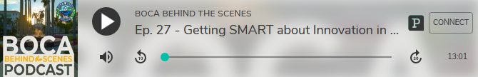 podcast player for boca behind the scenes episode 27. Getting smart about innovation