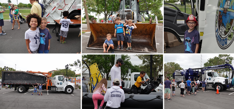 Kids posing with and climbing aboard City of Boca Raton trucks