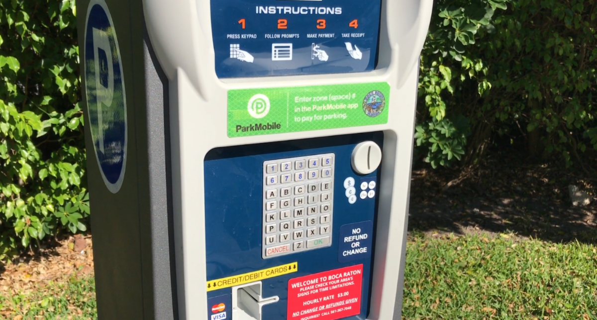 City of Boca Raton parking meter with ParkMobile sticker on it.