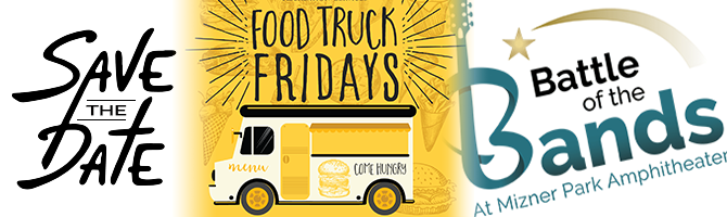 save the date. Food truck fridays. Battle of the bands at mizner park amphitheater