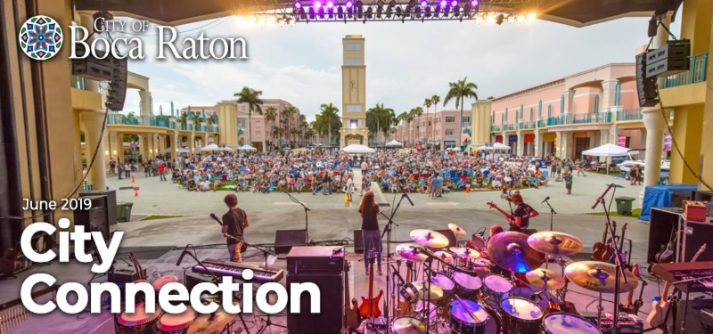 City of Boca Raton June 2019 City Connection. Band at Mizner Park amphitheater playing to large crowd.