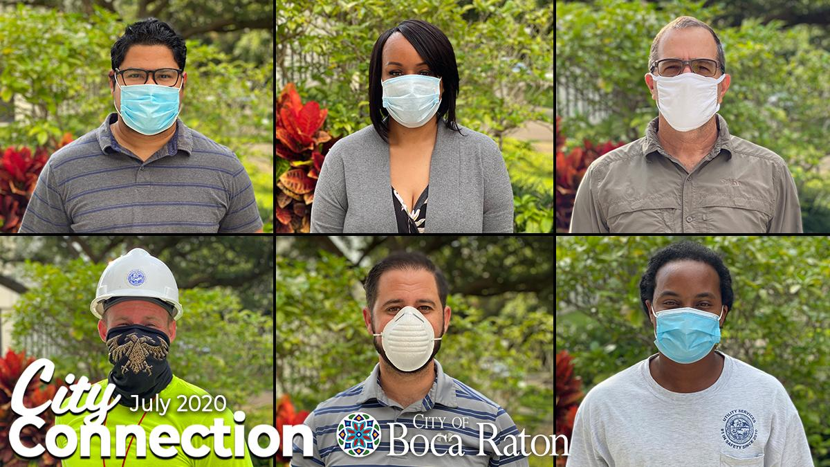 City Connection July 2020. City of Boca Raton. City staff with face coverings on.