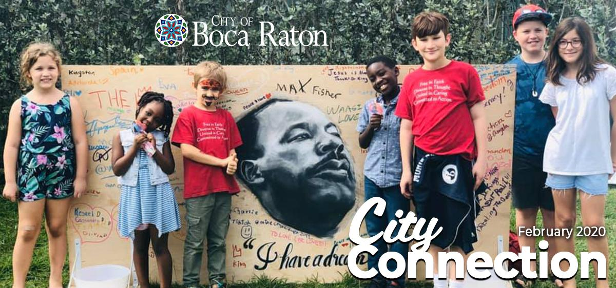 City of Boca Raton February 2020 City Connection. Children standing in front of a MLK Jr.  mural.