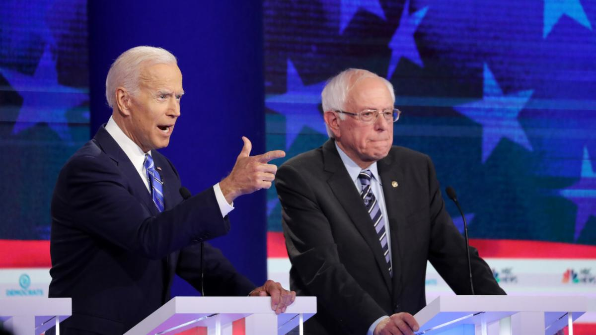 Biden Pointing With Sanders