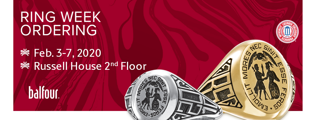 Ring Week is February 3 through 7 in the Russell House floor 2 lobby