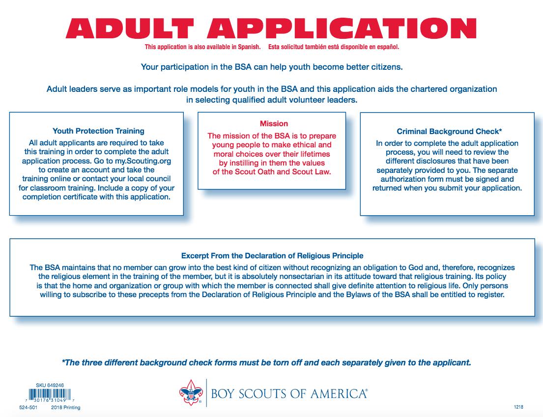 Adult Application 2020