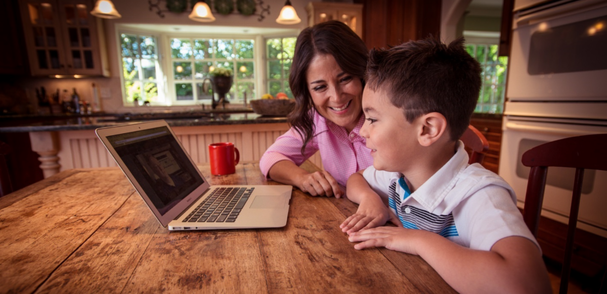 Scout with mother family on computer