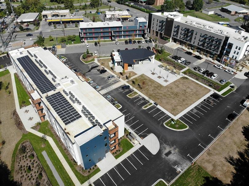 Solar panels at Urban Housing Solutions new apartment complex