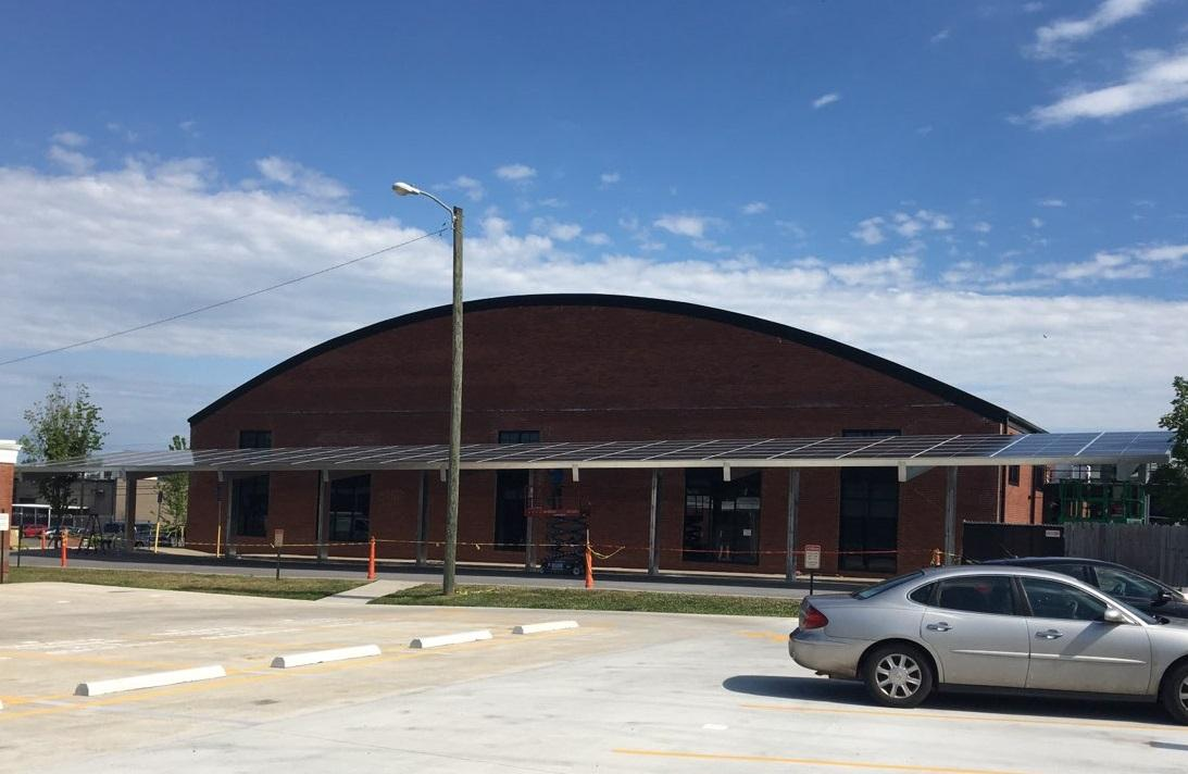 LightWave Solar installed solar canopy at Oak Barrel in Nashville TN