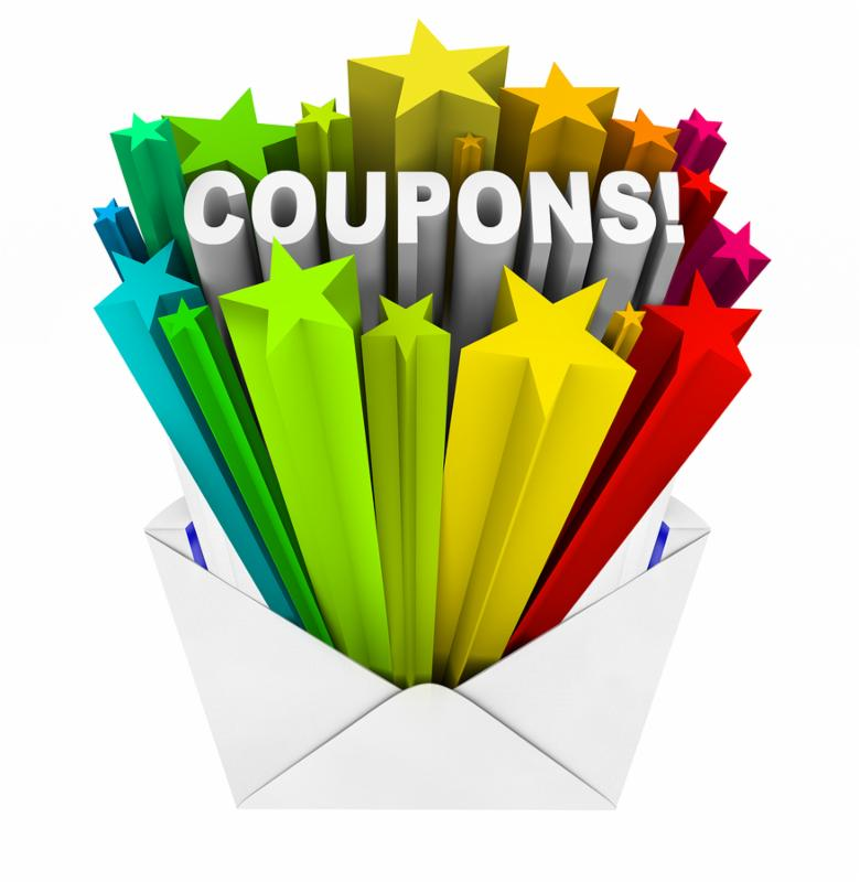 An envelope opening to show a burst of stars and the word Coupons to give you special savings so you can redeem a coupon and save when you buy the things you need at a store or online retailer