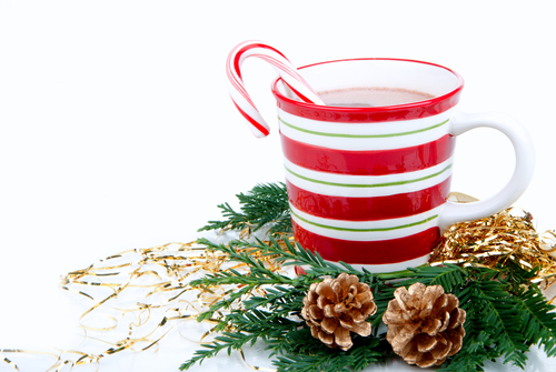 Christmas cups with Hot hot chocolate_ tea_ cocoa_ candy cane decorated with fir branch and two pine cones isolated on a white background