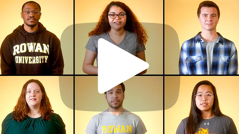 Six Rowan University community members from the Rowan Thrive video