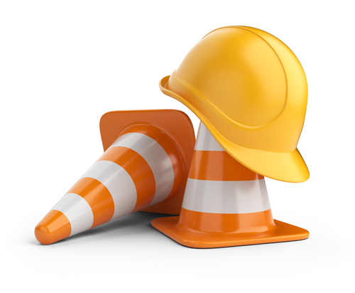 Traffic cones and hardhat. Road sign. Icon isolated on white background