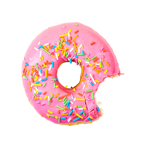 Bitten strawberry donut with colorful sprinkles isolated on white background. Top view.