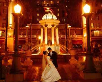 bride in fountain