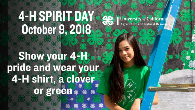 4-H Spirit Day is Oct 9