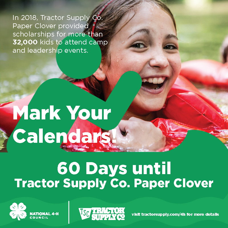 60 days until Tractor Supply Paper Clover