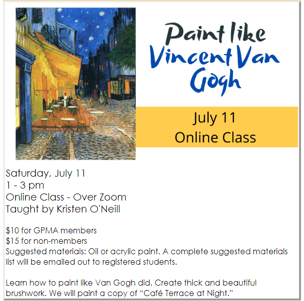 Grants Pass Musejm of ARt July 2020 News - Paint Like Vangogh virtual art class